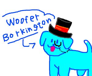Blue dog wearing a fancy hat