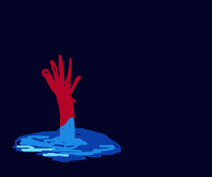 Spiderman melting cheerfully