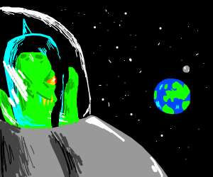 Alien looking at earth