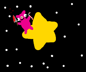 Insane pig sitting on a star with a straw