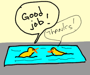 Duck in kiddie pool congratulates on 1st duck