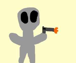 Alien shooting a glock 14