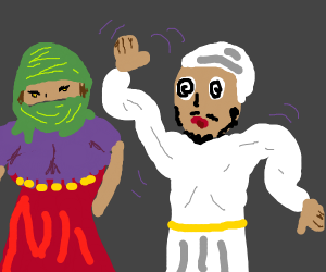 veiled girl hypotising guy with dance - Drawception