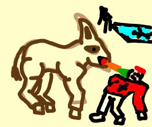 A rabbit-horse attacks a lifeguard