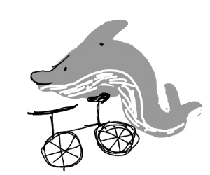 A dolphin riding a bicycle!!!!