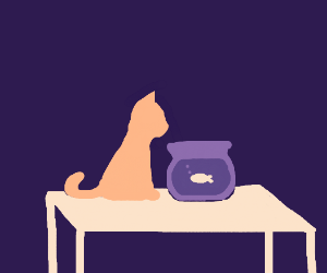 The cat stared into the fishbowl, mesmerized.