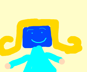 Blue square-faced lady with blonde hair