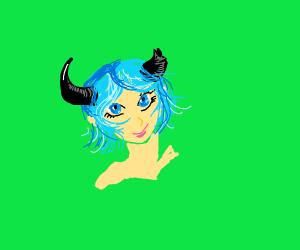 pale blueHair animeGirl with blackDevilhorns