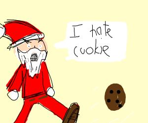 santa kicking the cookies