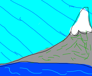 Grassy mountain in the water