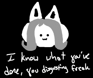 temmie stares you down, aware of your crimes