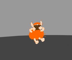 orange hairy goblin reading a book