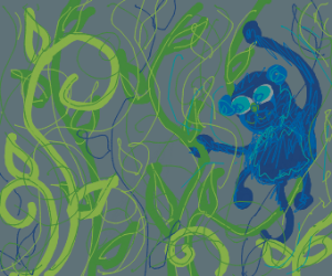 An ape swings from vine to vine