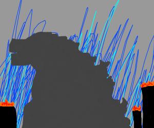 The most powerful Godzilla destroys a city