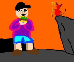 Man eats burger in Hell