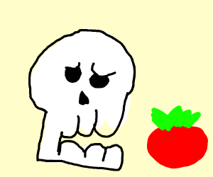 Skeleton is sad because he can't eat food