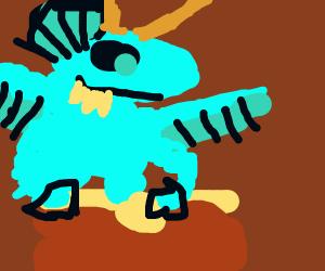 Dragon playing the bongos
