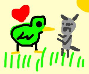 Green bird loves mouse