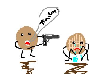 a pancake with a gun, shouts Traitor!