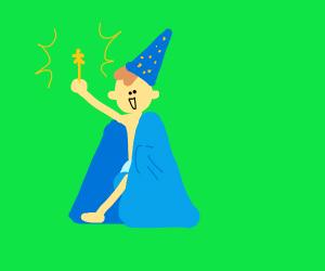 Low-budget wizard in a bathrobe
