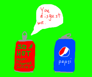 red soda can says Pepsi is gross