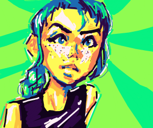 Girl with teal eyes and hair