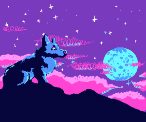 A starry night with a blue wolf