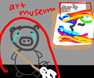 sad gray pig mops in a museum