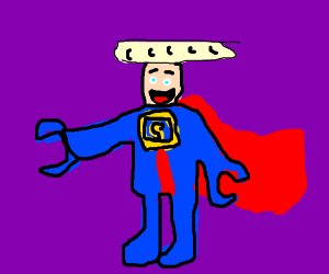 Superman lego with bagguette on his head