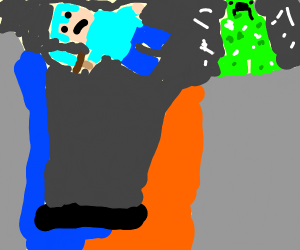 minecraft dude falls off cliff from creeper