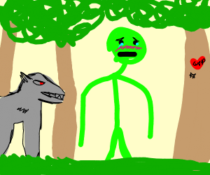 Green figure being followed by wolf in forest