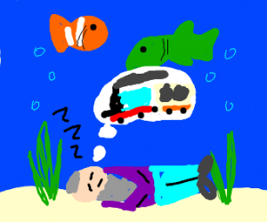 The old man in the sea dreaming of trains