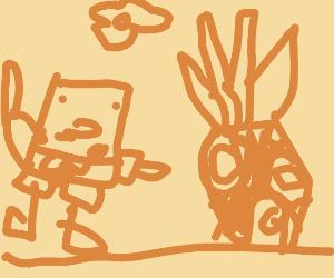 Discoloured Spongebob and his house