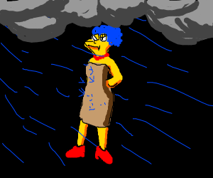 marge with short hair in crazy storm