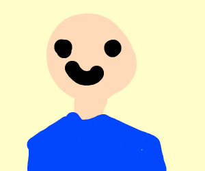 Happy dude in blue shirt