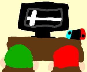 Mario and Luigi playing smash bros