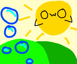 OwO sun mesmerised by some bubbles