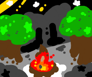 A campfire in a dark wood