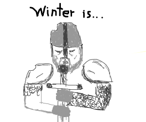 Man with sword in WINTER IS COMING pose