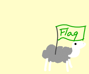 A grey sheep with a flag