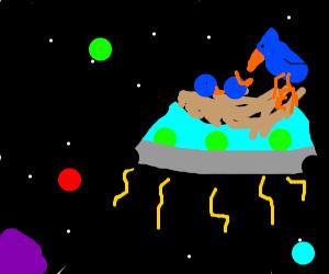 Bird nest UFO in space