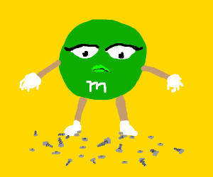green m&m stepping on nuts & bolts
