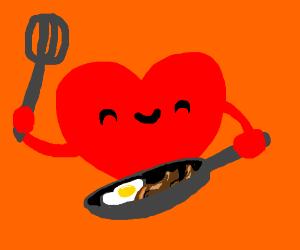 a cartoon heart cooking breakfast
