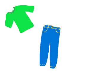 Step 9: Green shirt with jeans