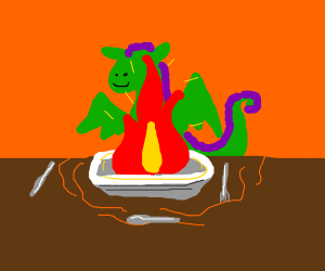 A dragon eating a tasty flame.