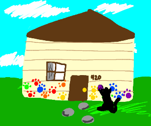 A cat painting a house