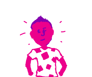 pink guy with squares on shirt