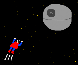 superman flying to deathstar