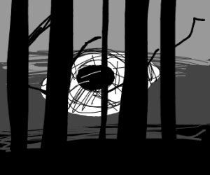 Eyes behind forest trees