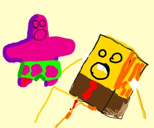Patrick and spongebob injured